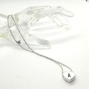 """Sterling silver ingraved """"A"""" chain heart pendant necklace."""